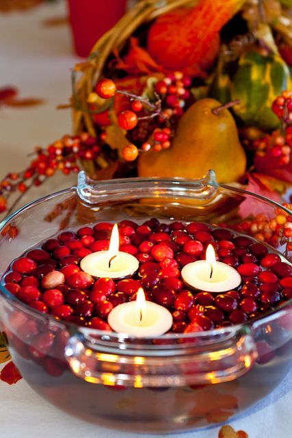 Floating candles in cranberries DIY