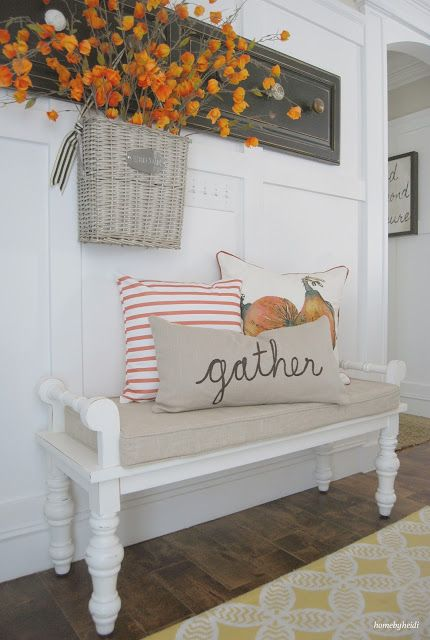 Gather pillow Thanksgiving Entryway Decor Ideas via Home By Heidi