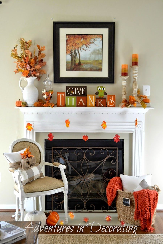 Give Thanks Thanksgiving Home Decor Mantel via adventuresindecorating1 #Thanksgiving #ThanksgivingDecor
