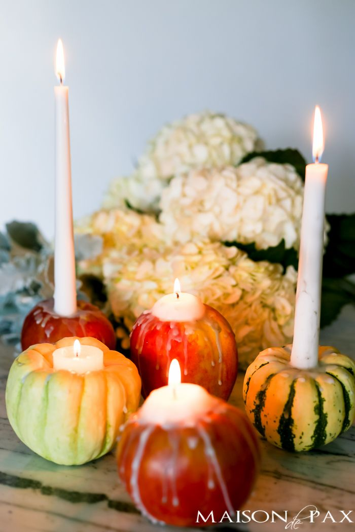 Gourd and Apple Candle Holders for Thanksgiving DIY Decor via Maisondepax