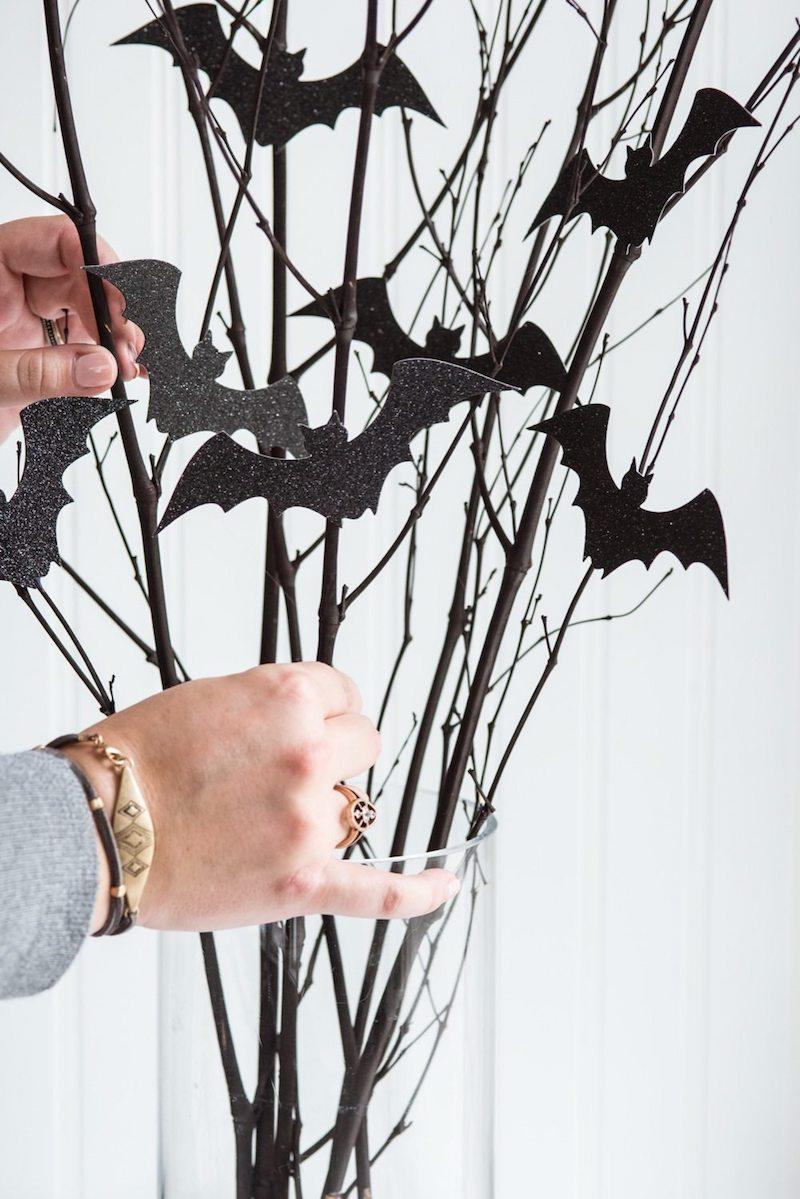 Halloween DIY Bat Branch Centerpiece Project