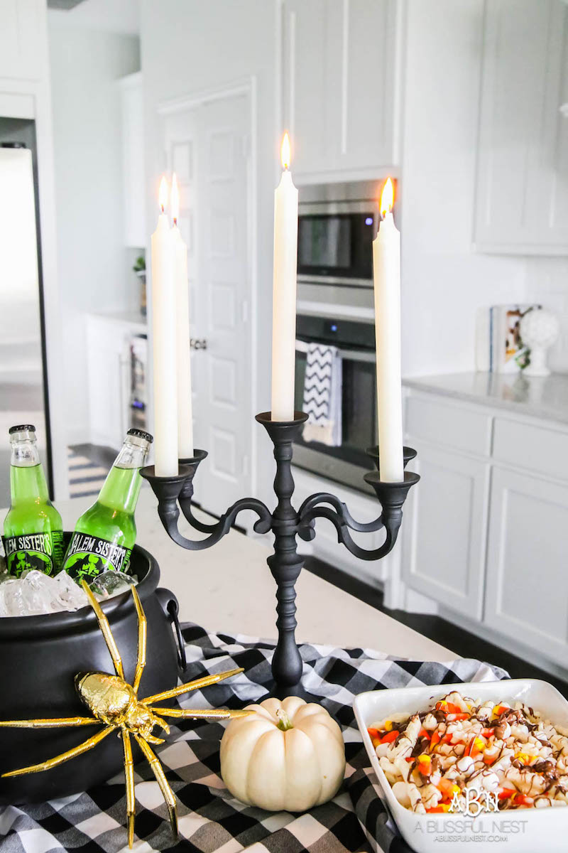 Halloween Decor Ideas Black Candelabra Via A Blissful Nest