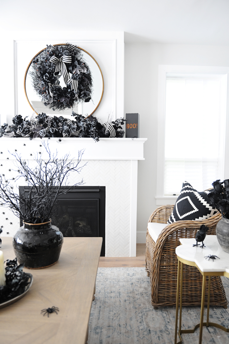 Halloween Decor Ideas Black And White Halloween Mantel Via Pink Peppermint Design