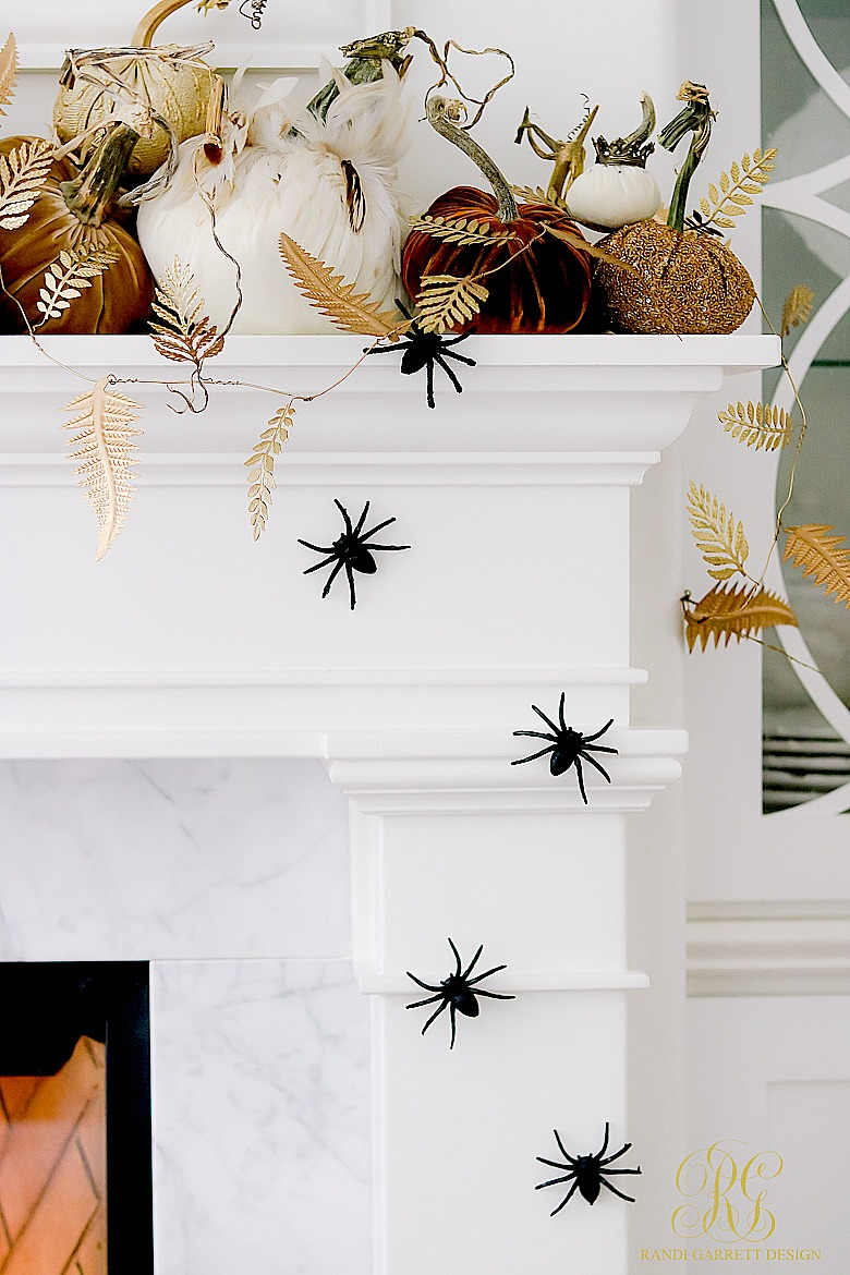 Halloween Decor Ideas Gold And Orange Pumpkins On Mantel Via Randi Garrett