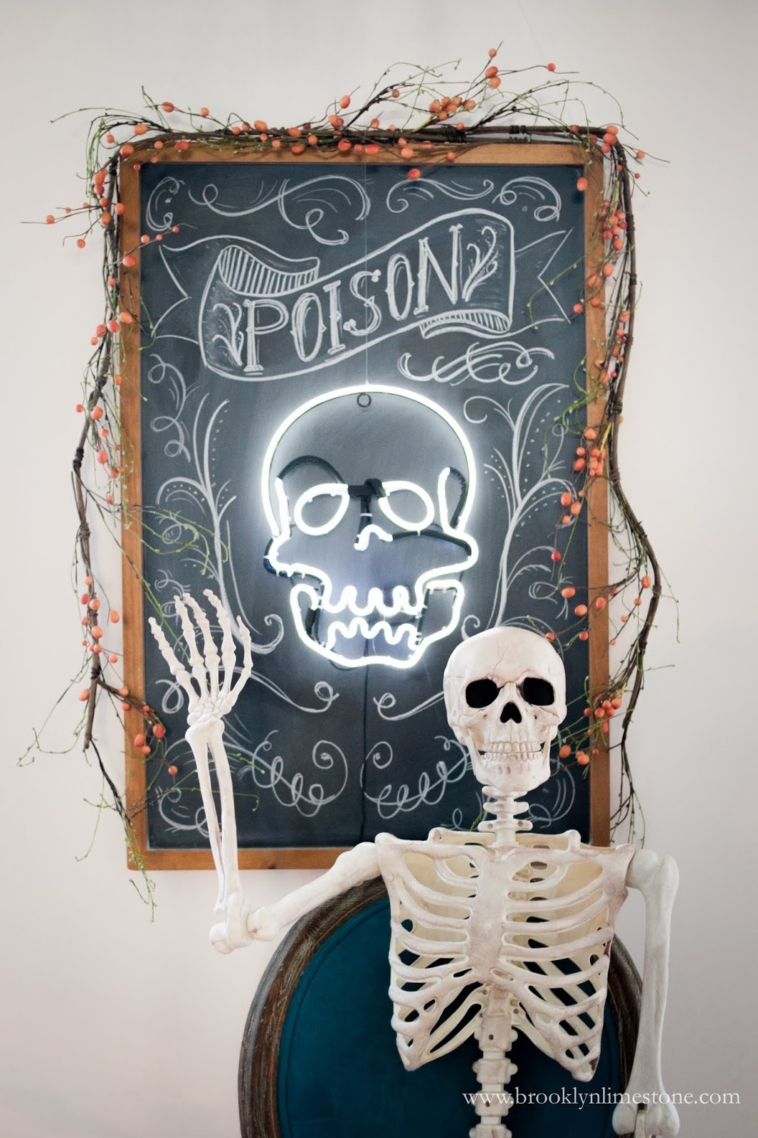 Halloween Decor Ideas Neon Skull Light Via Brooklynlimetone