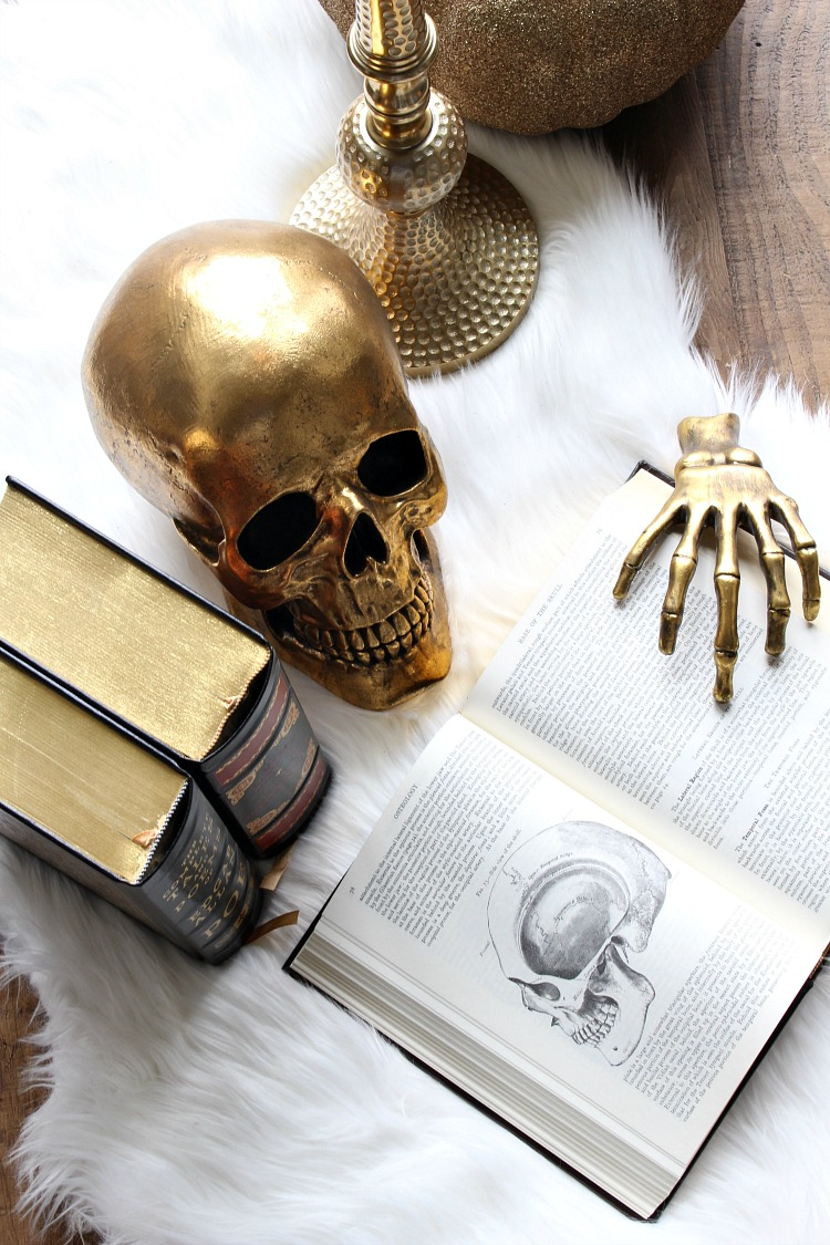 Halloween Decor Ideas Open Science Book With Gold Hand Via House Of Silver Lining