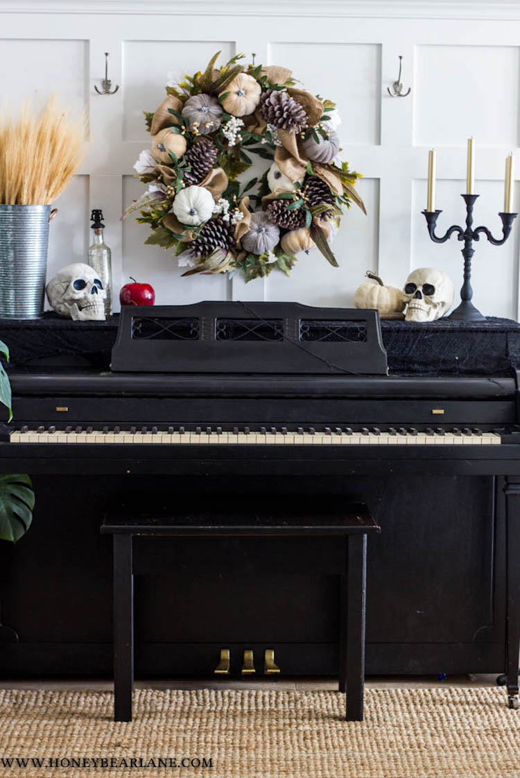 Halloween Decor Ideas Skulls On Vintage Piano