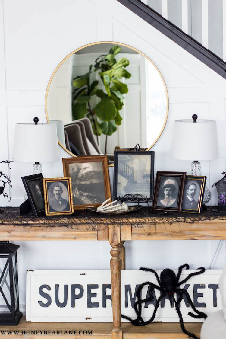 Halloween Decor Ideas Vinage Creepy Photo Frames Via HoneyBearLane
