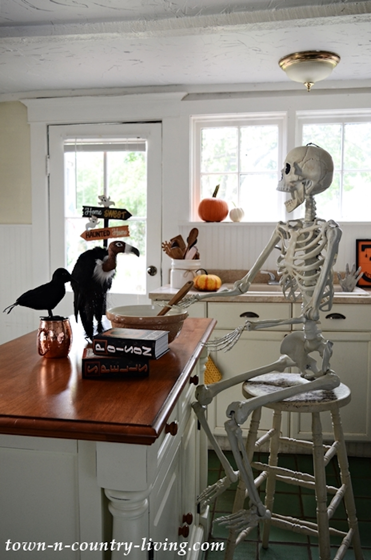 Halloween Decor Ideas   Vulture On Table And Skeleton On Bar Stool Via Town N Country Living
