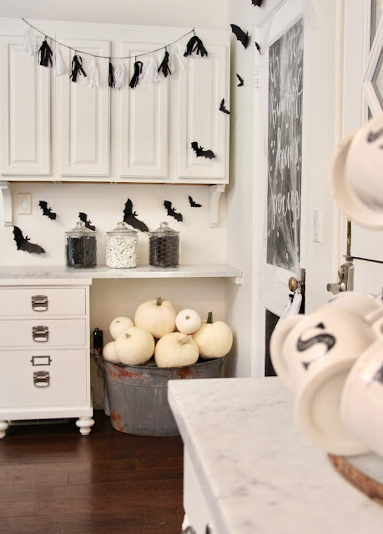 Halloween Decor Ideas White Pumpkins In Bucket