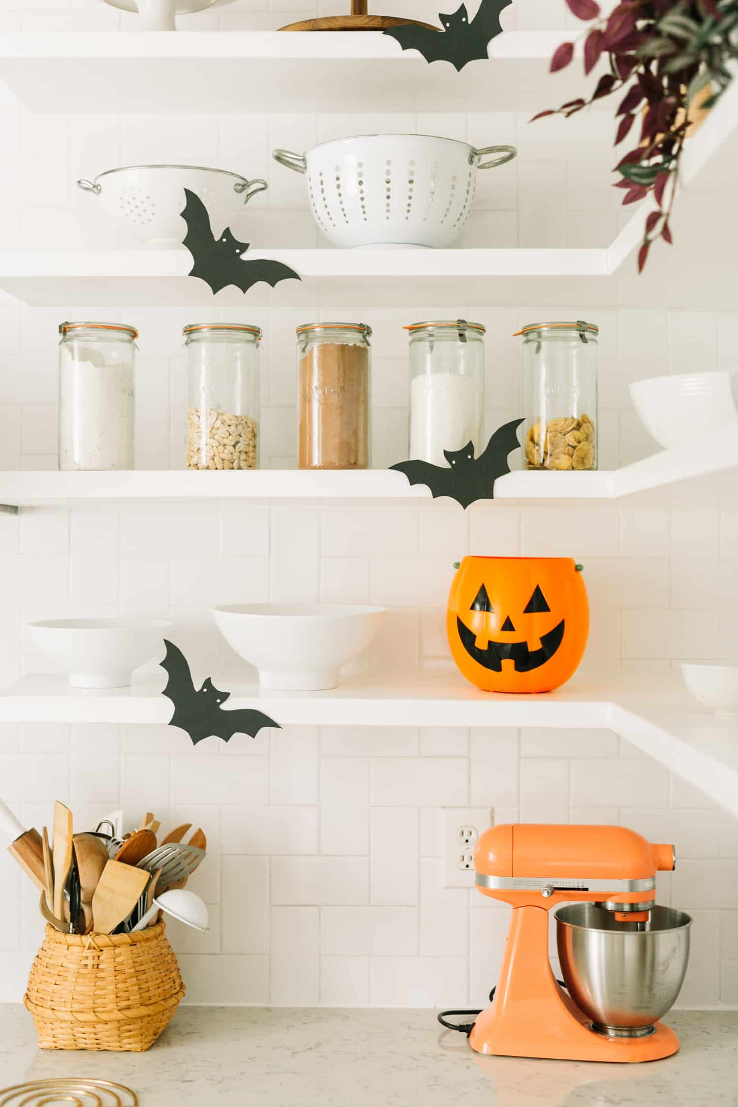 Halloween Decor Ideas For The Kitchen via A Beautiful Mess