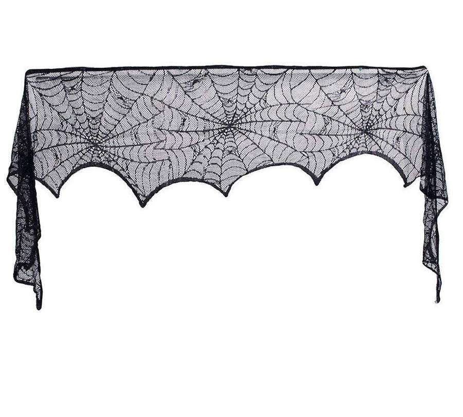 Affordable Halloween Decor - Lace Spider Web Mantle Runner