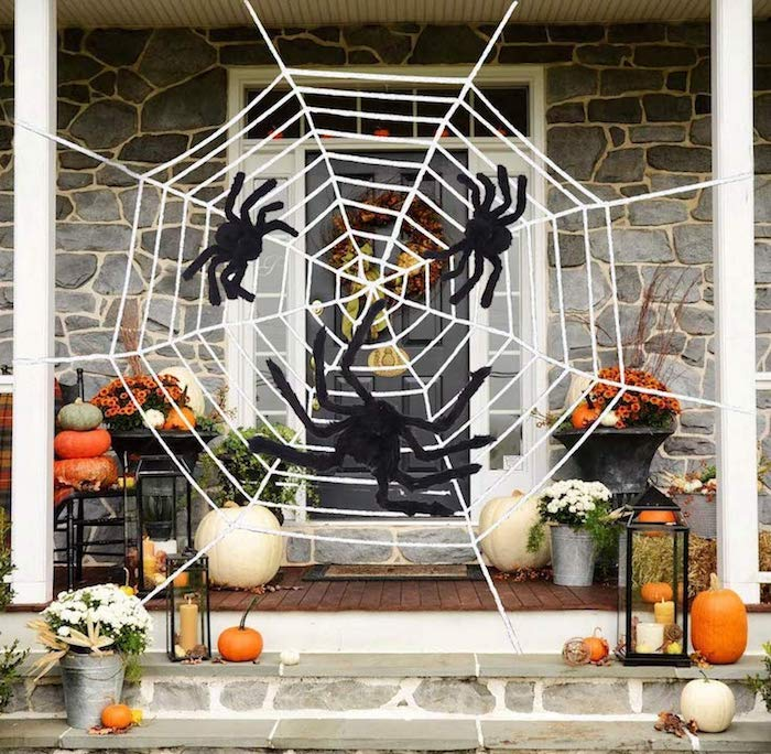 Affordable Halloween Decor - Large Outdoor Spider Web With 3 Spiders
