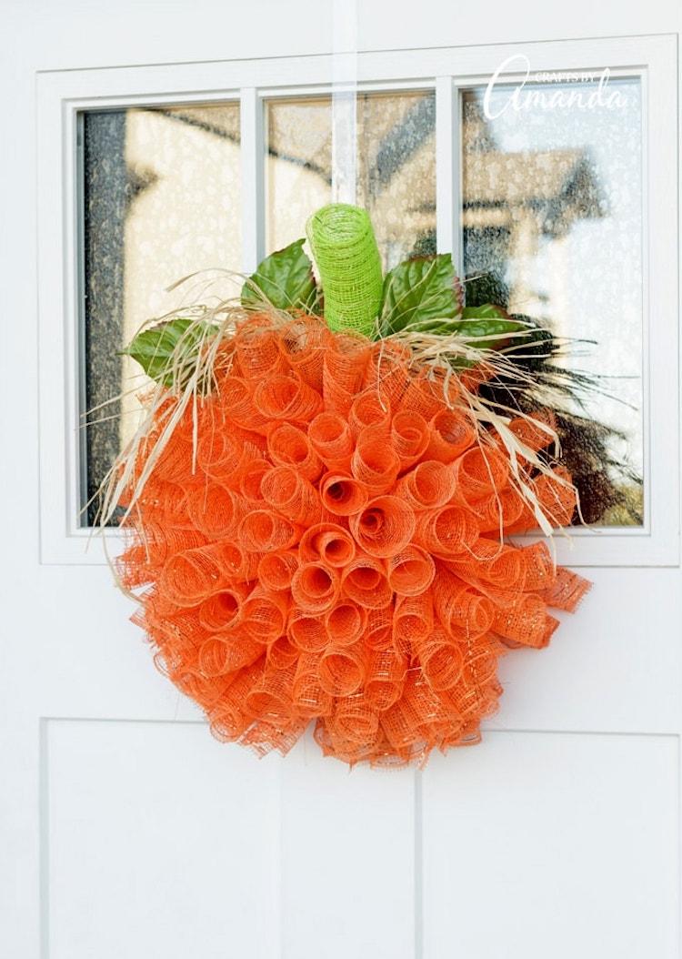 Mesh Pumpkin Wreath DIY Halloween Decor