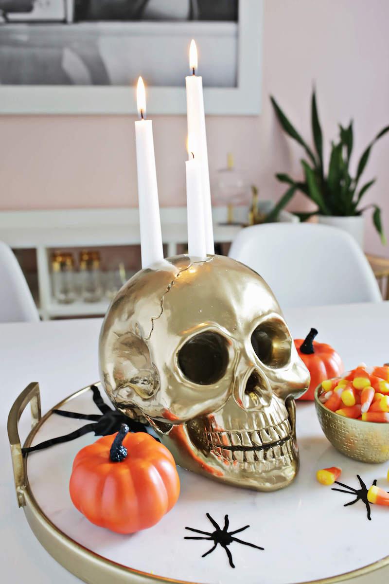 Skull Candle Holder DIY Halloween Decor