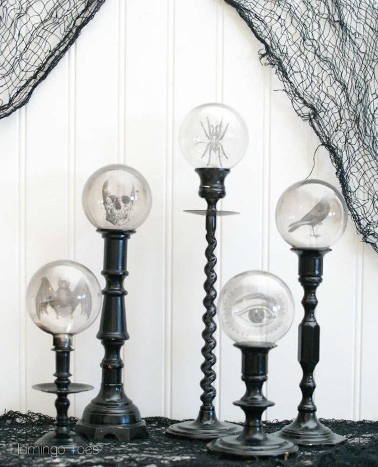 Spooky Crystal Ball Halloween Candlesticks DIY Halloween Decorations