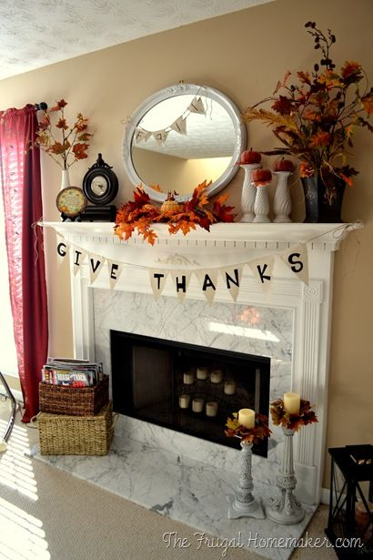 Thanksgiving Give Thanks Mantel via thefrugalhomemaker