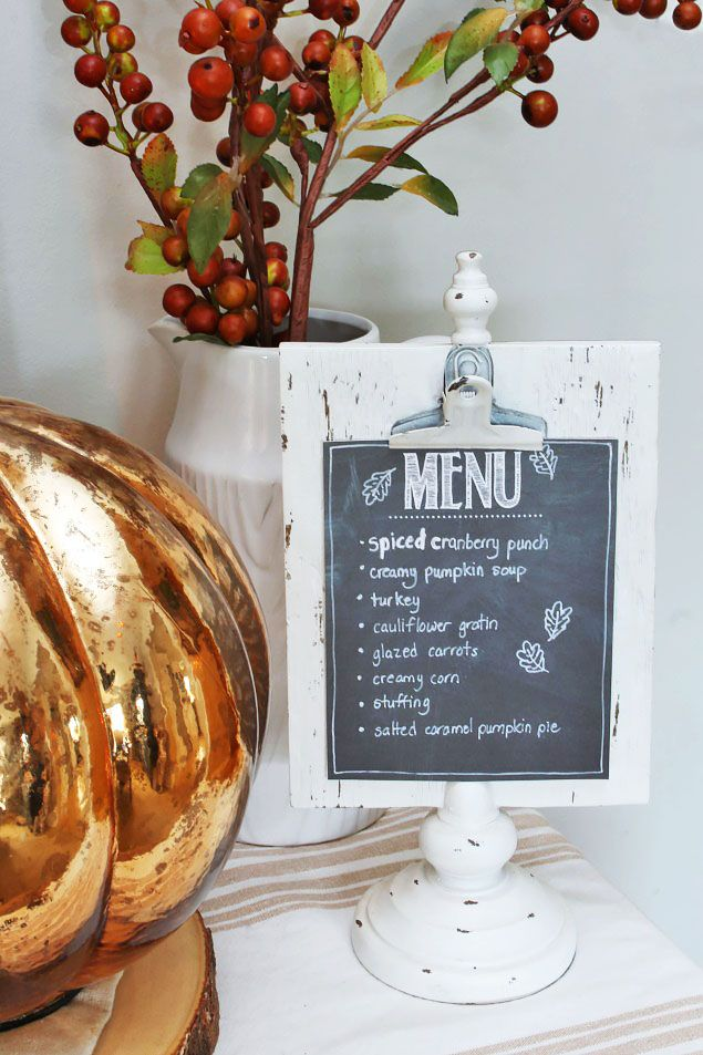 Thanksgiving Menu card decor via cleanandscentsible