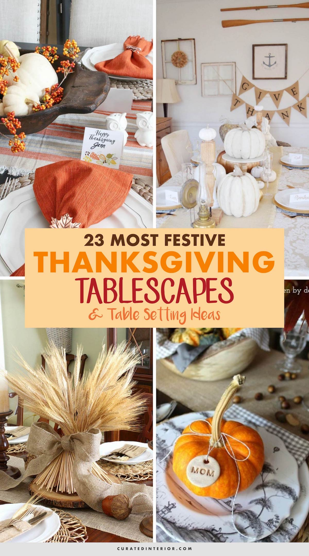 23 Most Festive Thanksgiving Tablescapes And Table Setting Ideas #Thanksgiving #ThanksgivingDecor #ThanksgivingIdeas