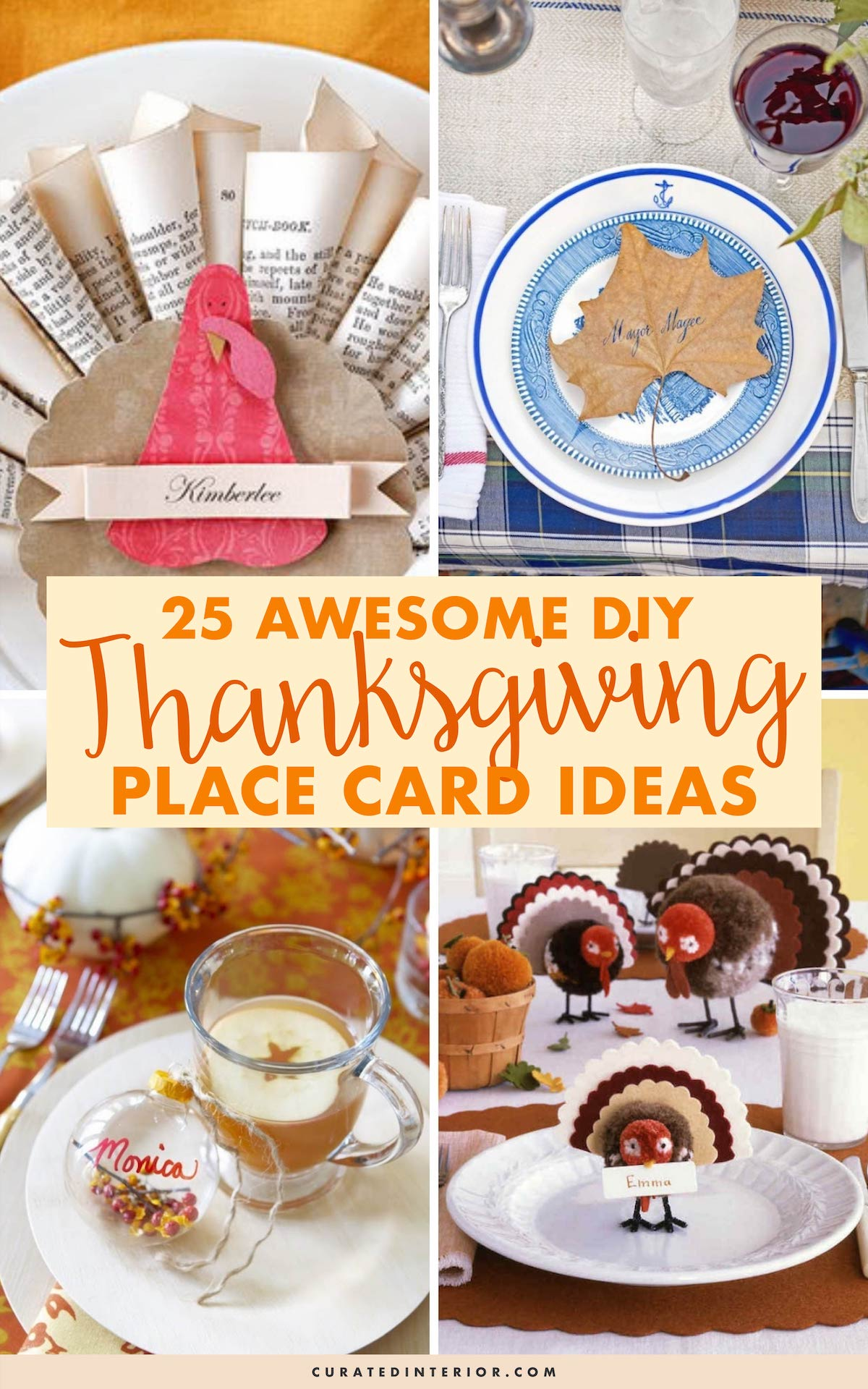 25 Awesome DIY Thanksgiving Place Card Ideas #Thanksgiving #ThanksgivingDecor #ThanksgivingTable #ThanksgivingTableDecor
