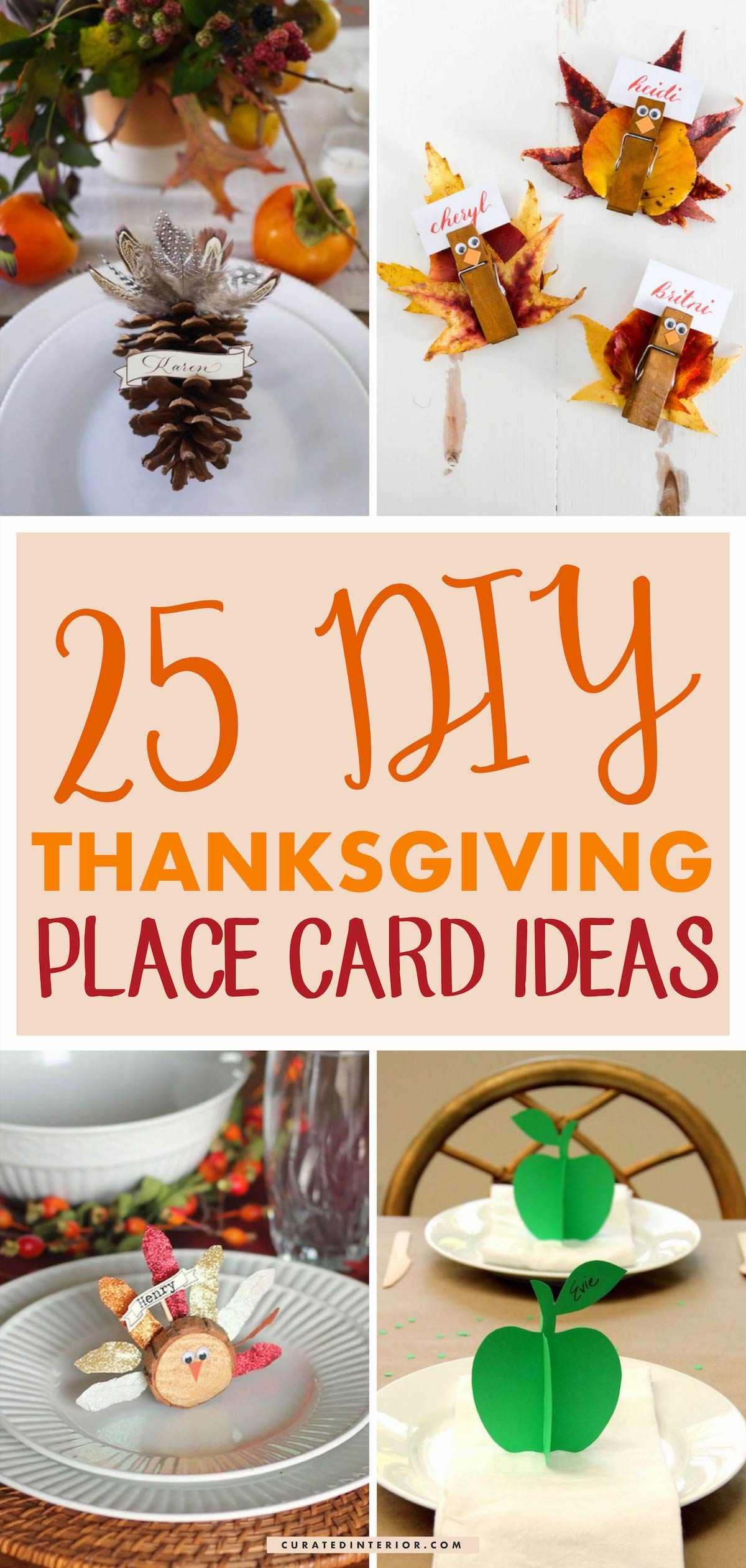 25 DIY Thanksgiving Place Card Ideas #Thanksgiving #ThanksgivingDecor #ThanksgivingTable #ThanksgivingTableDecor