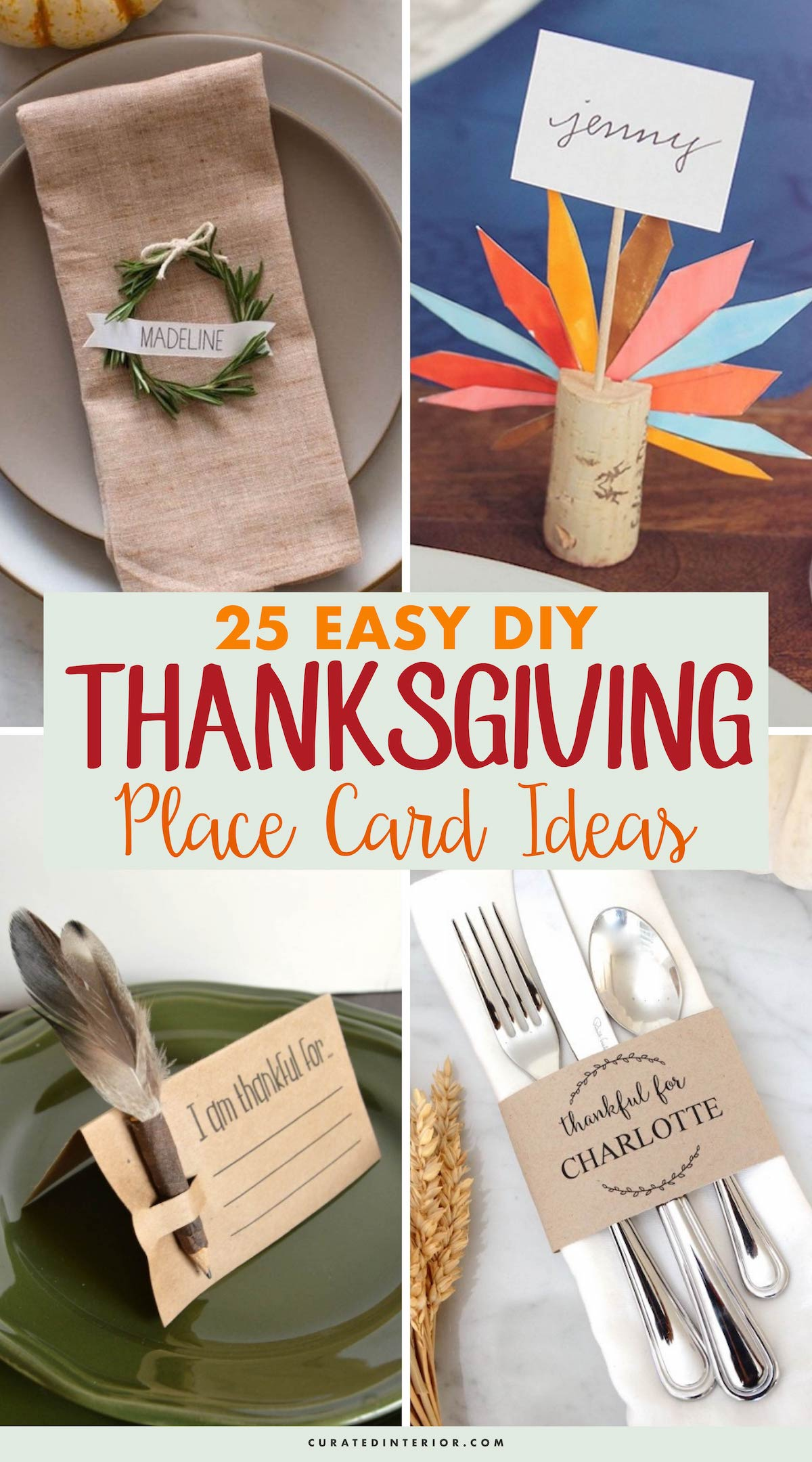 25 Easy DIY Thanksgiving Place Card Ideas #Thanksgiving #ThanksgivingDecor #ThanksgivingTable #ThanksgivingTableDecor
