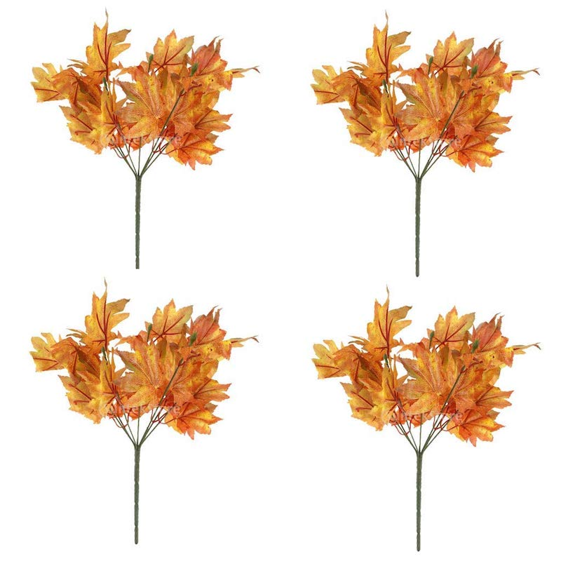 Affordable Fall Decorations 4 Piece Autumn Maple Leaf Branches
