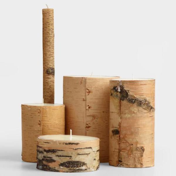 Affordable Fall Decorations Birch Bark Candles