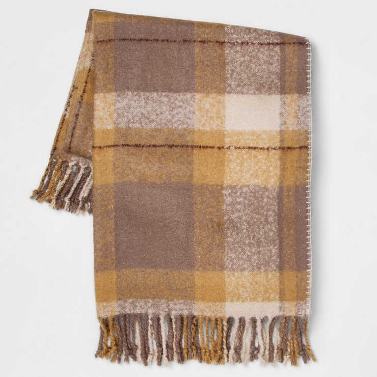 Affordable Fall Decorations Faux Mohair Brown Plaid Throw Blanket