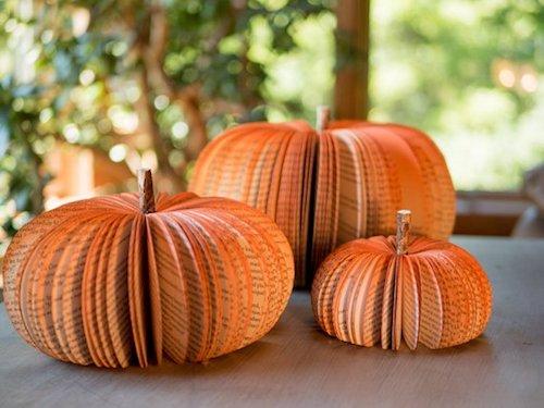 Affordable Fall Decorations Handmade Book Pumpkins