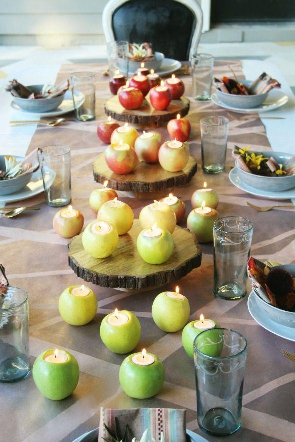 Apple Votives DIY Thanksgiving Centerpiece via Littlegreennotebook