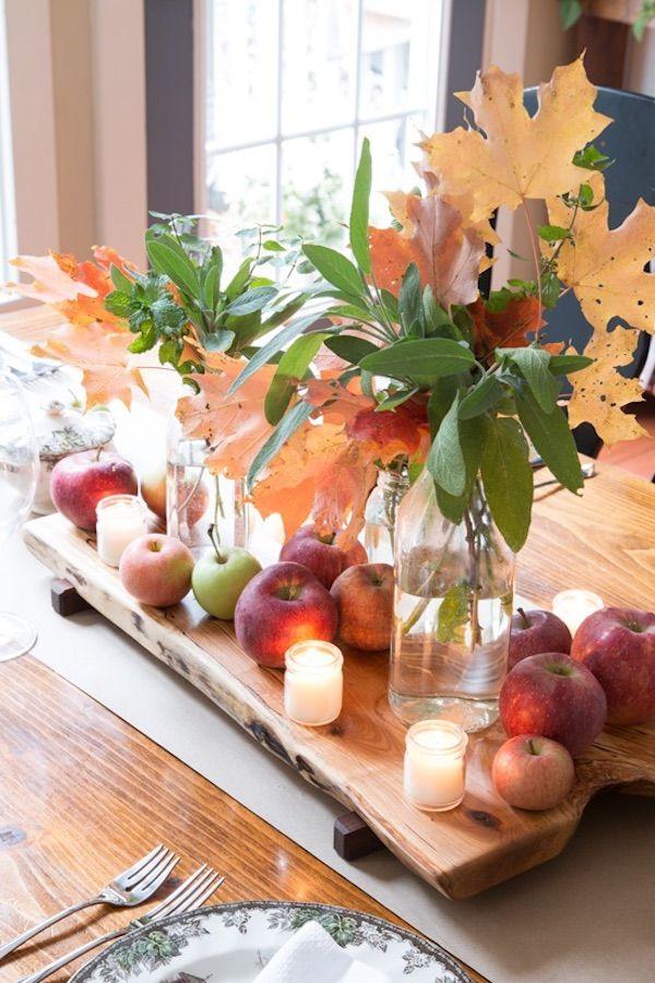Apples And Leaves DIY Thanksgiving Centerpiece via Findinghomefarms