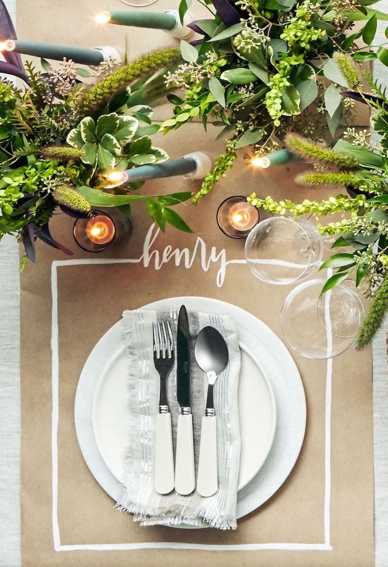 Brown Paper Placemat DIY Thanksgiving Handwritten Name Via CountryLiving