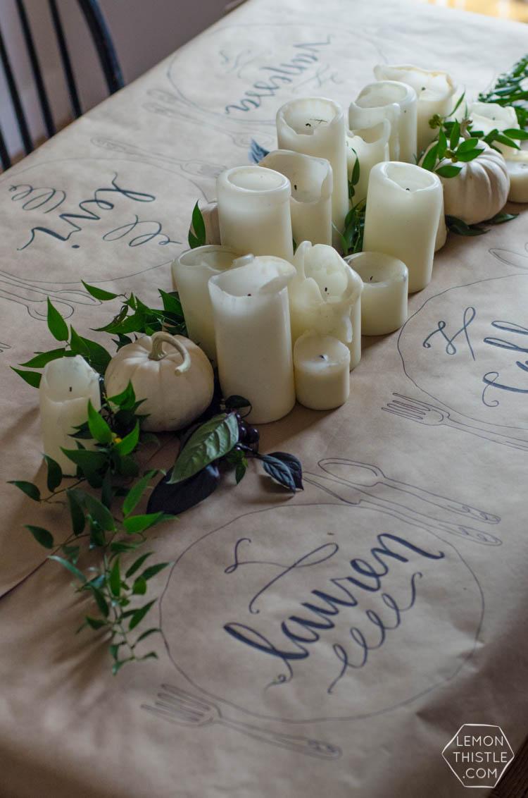 Casual Friendsgiving Table Setting via Lemonthistle