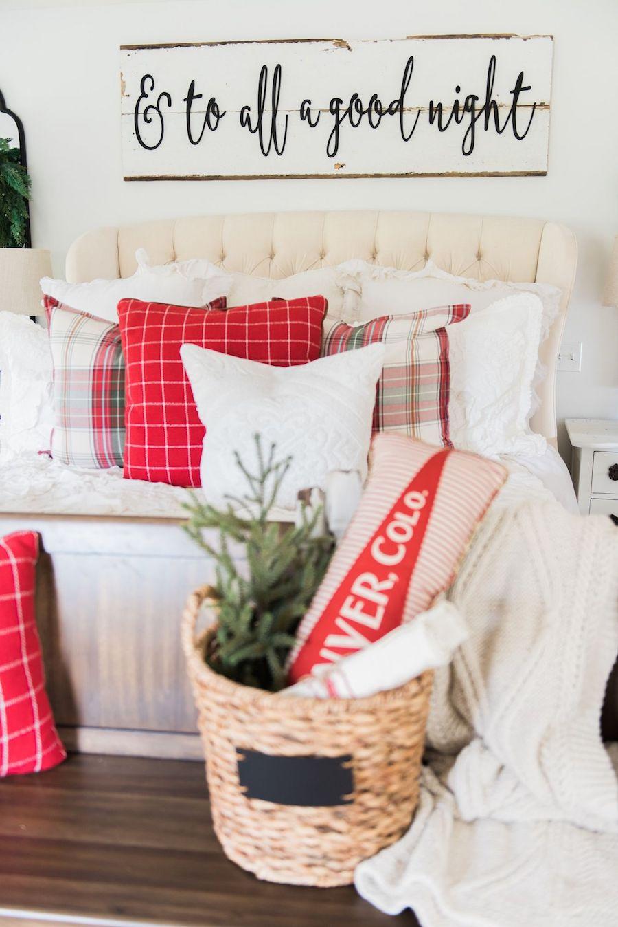 Christmas Bedroom Decor with plaid throw pillows via lizmarieblog