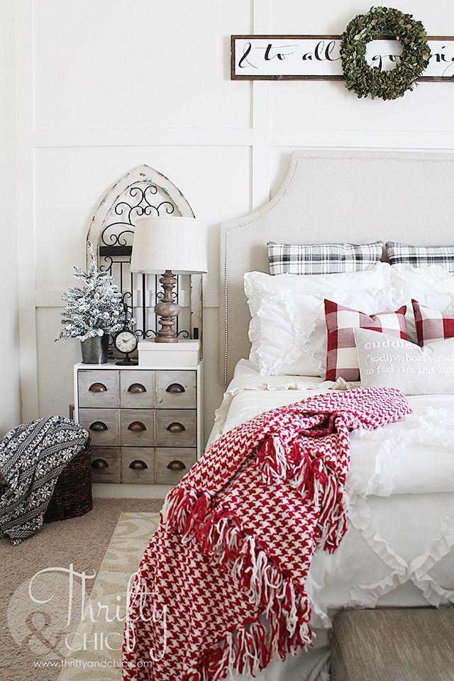 Classic Christmas Bedroom Decor via thriftyandchic