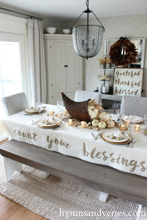 Count Your Blessings Tablecloth Thanksgiving Tablescapes With Cornucopia Centerpiece via Hymnsandverses