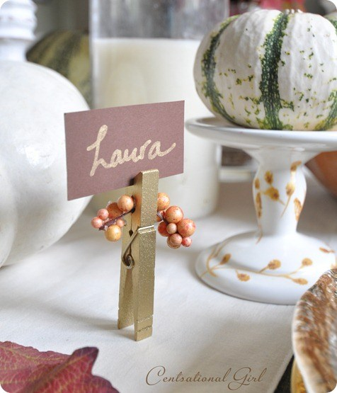 DIY Clothespin Thanksgiving Place Card by Centsational Style