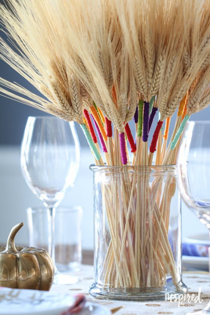 DIY Color Wrapped Wheat Thanksgiving Centerpiece via Inspired By Charm