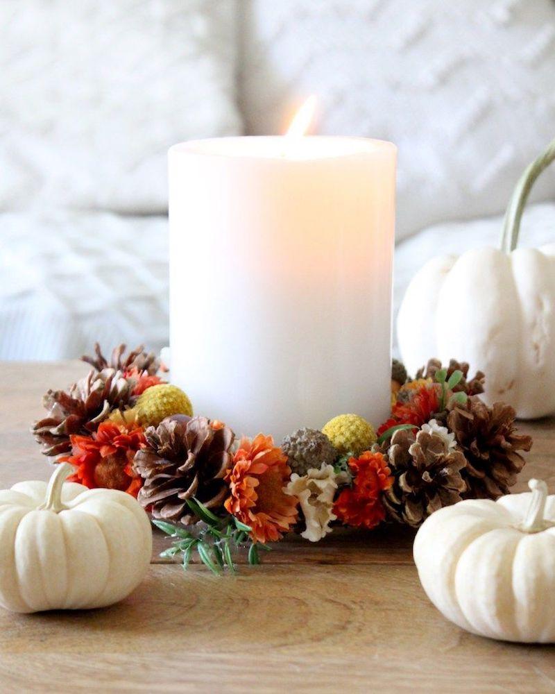DIY Fall Candle Wreath via TonalityDesigns