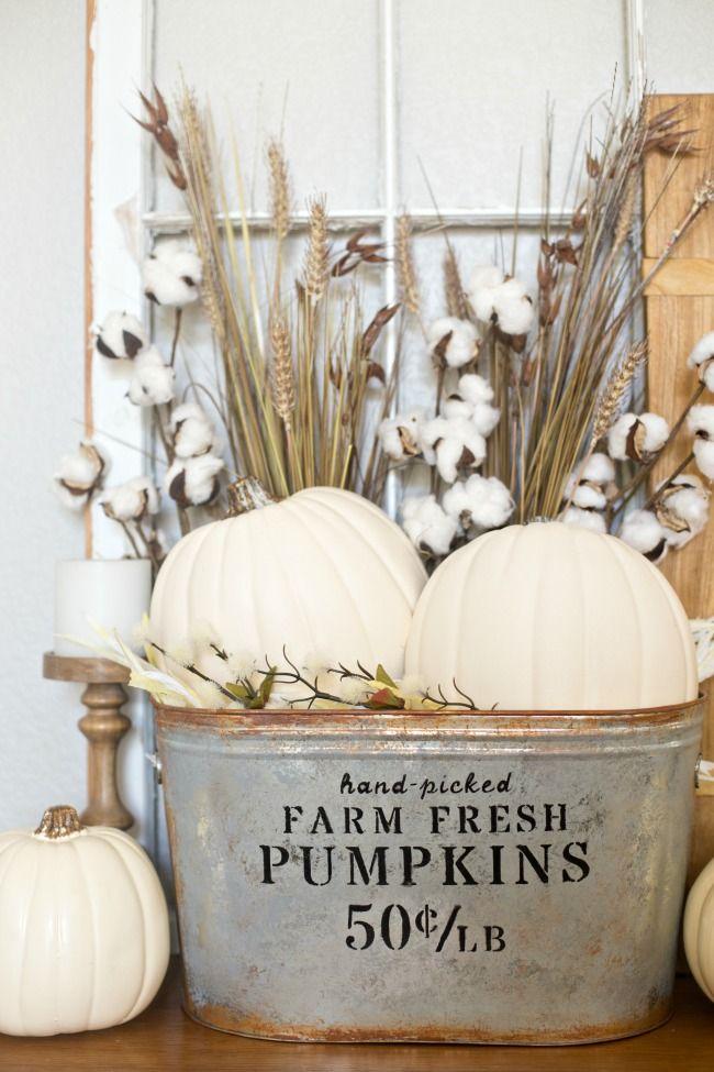 DIY Farmhouse Pumpkin Bucket via anightowlblog #FallDecor #DIYDecor #FallDIY