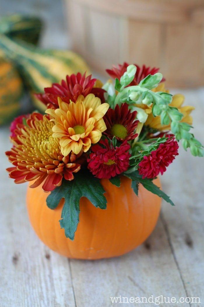 DIY Floral Thanksgiving Centerpiece via Wine And Glue