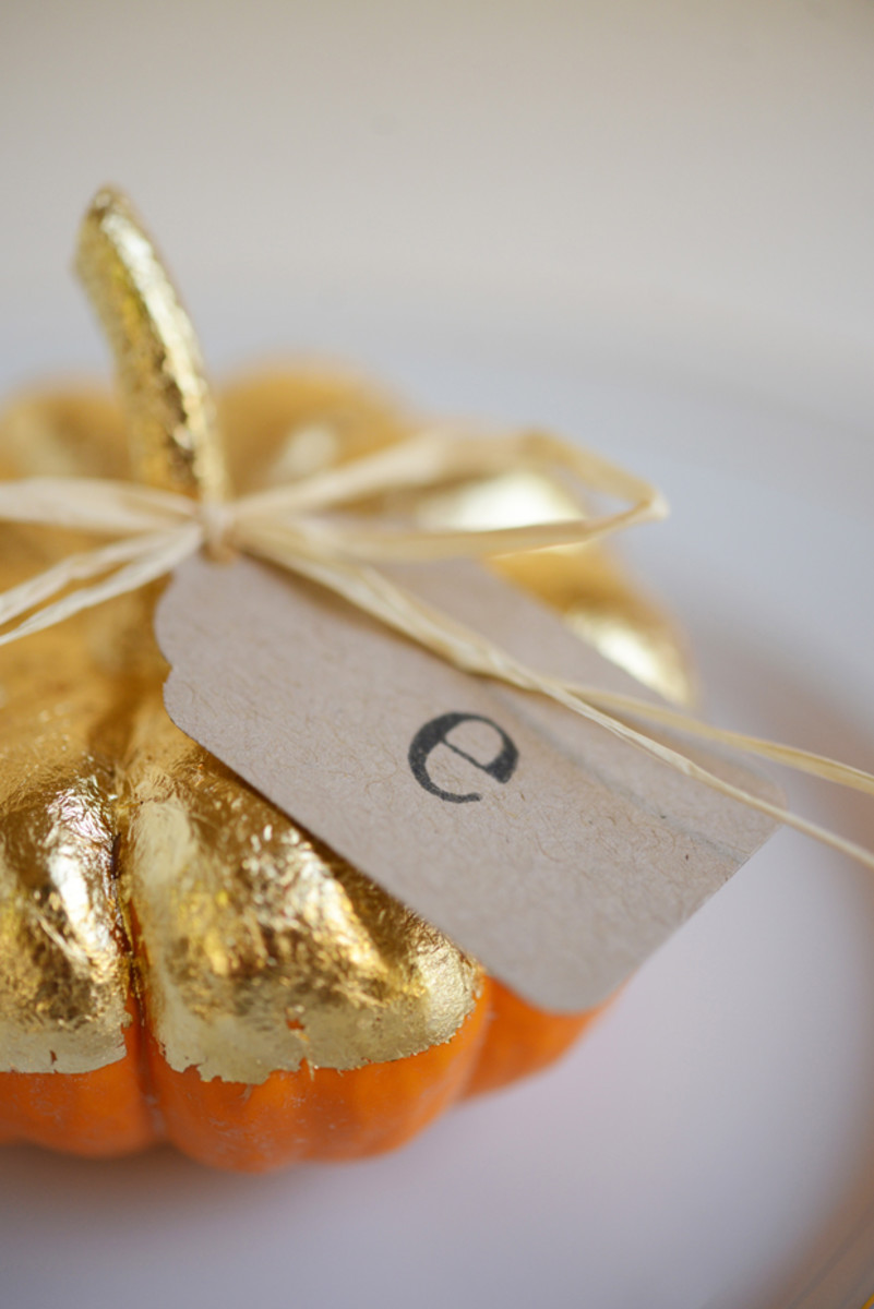 DIY Gold Harvest Place Cards Via Cupcakes And Cashmere