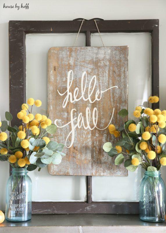 DIY Hello Fall Sign for Console Table via housebyhoff