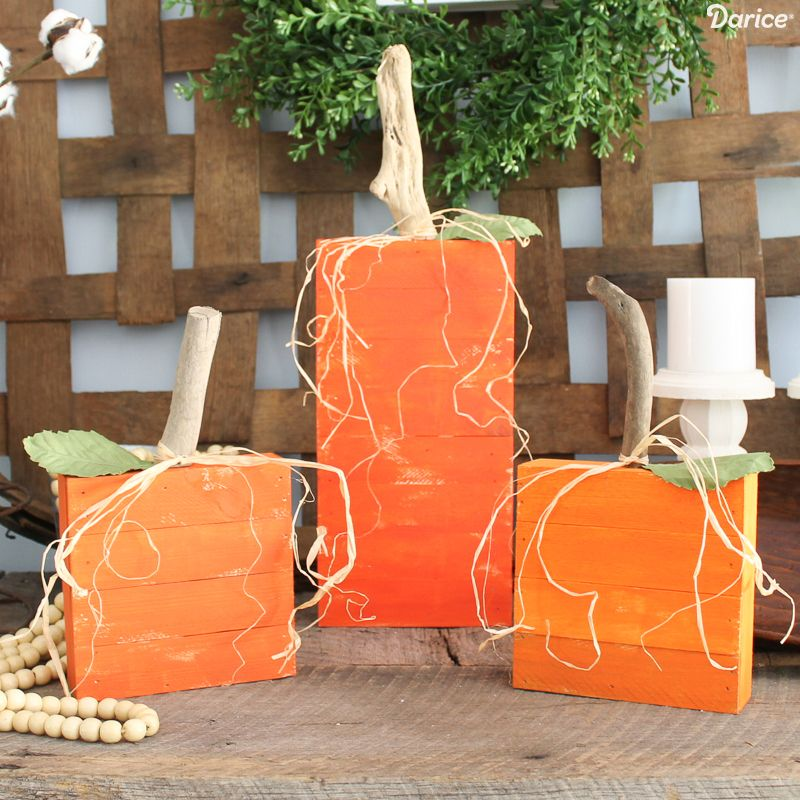 DIY Pallet Wood Pumpkins via Darice