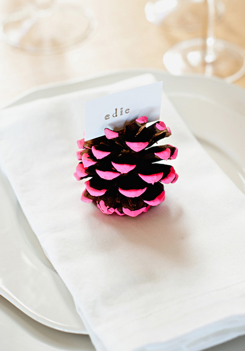 DIY Thanksgiving Neon Pine Cone Placecard Holder Via CamilleStyles
