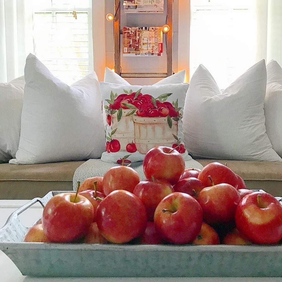 Fall Apples Fall Coffee Table Styling For Fall via @thedahlfarmhouse