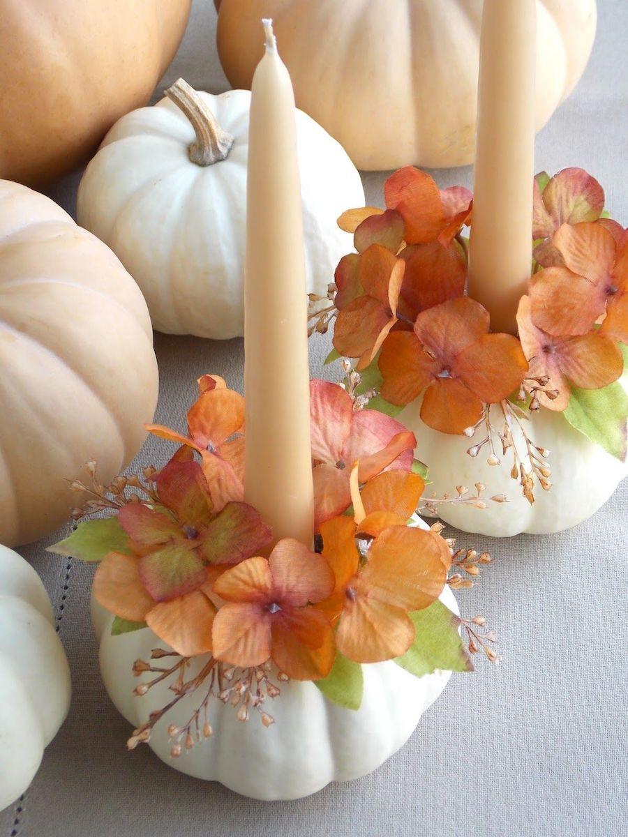 Fall Decor DIY Pumpkin Candle Holder via ahomemadeliving