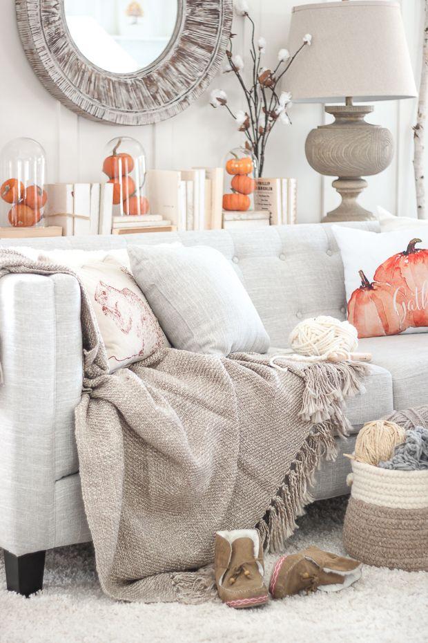 Fall Living Room Decor Ideas With Pumpkin Throw Pillows via Craftberrybush