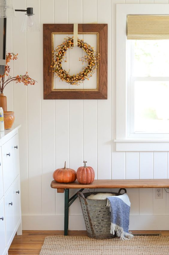 Fall Entryway With Fall Wreath And Reclaimed Wood Bench via Ironandtwine
